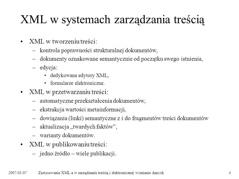XML w systemach zarządzania treścią