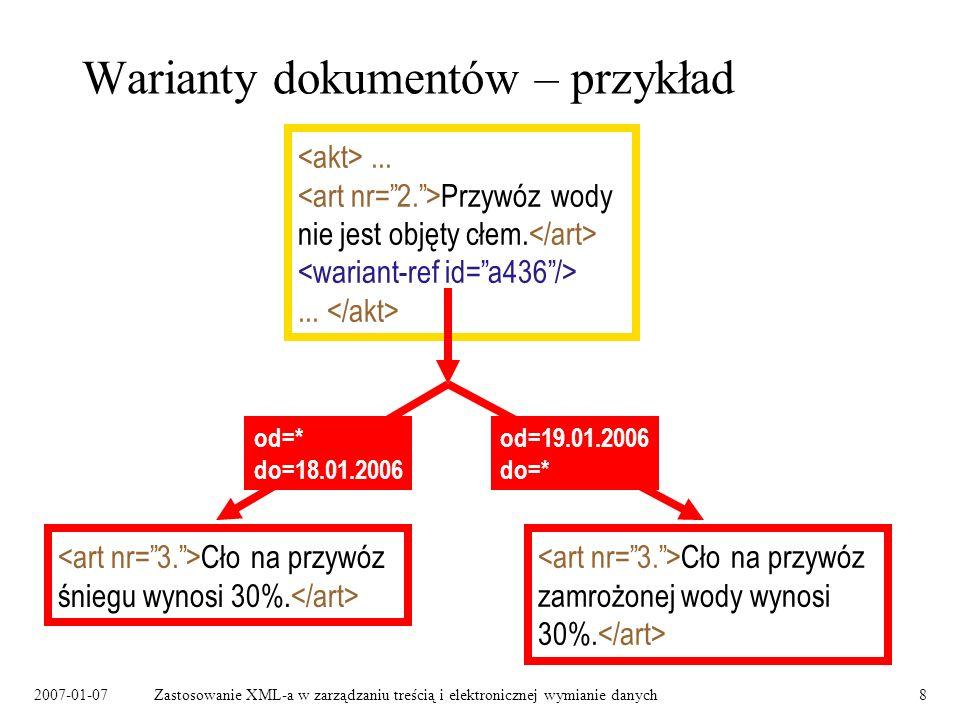 Warianty dokumentów – przykład