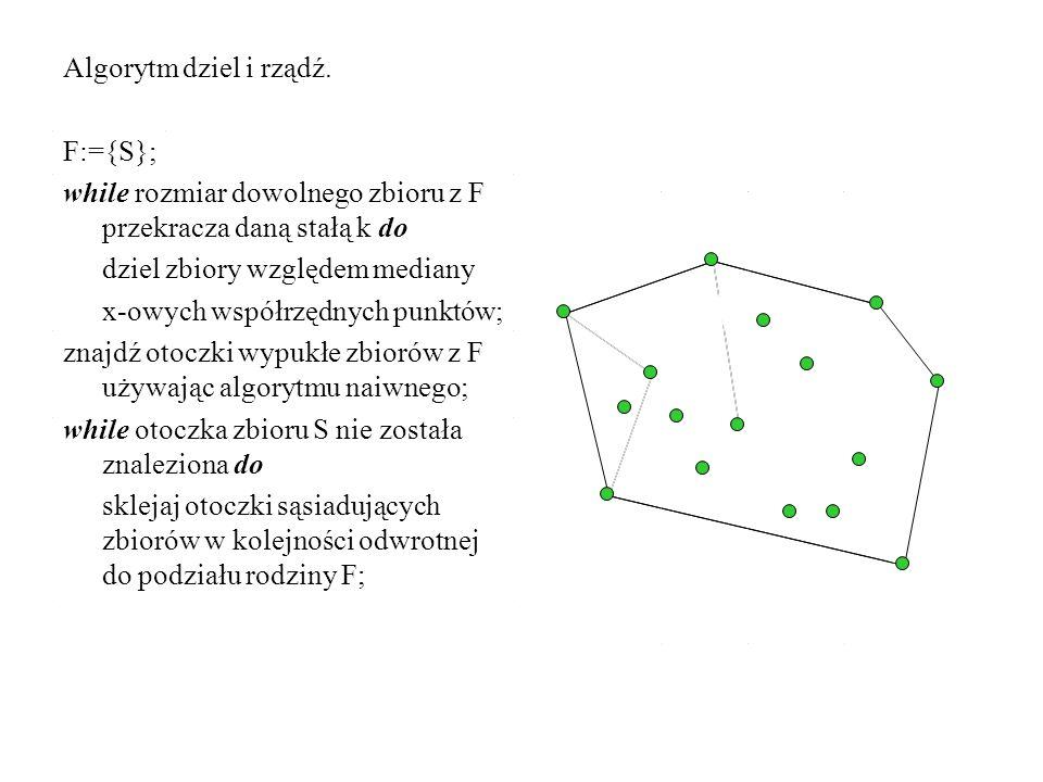 Algorytm dziel i rządź. F:={S}; while rozmiar dowolnego zbioru z F przekracza daną stałą k do. dziel zbiory względem mediany.