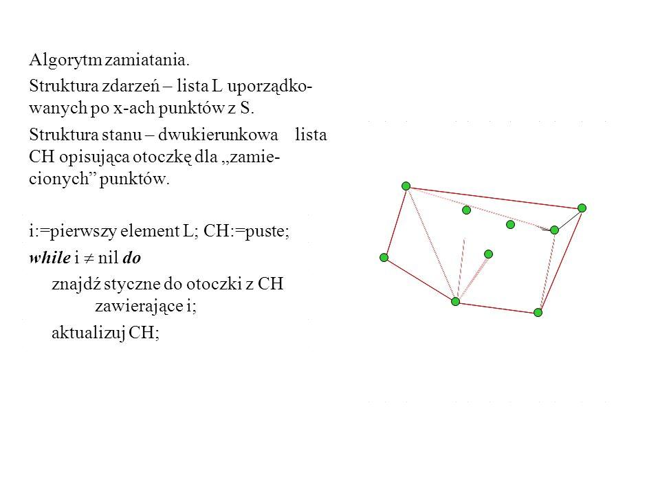 Algorytm zamiatania. Struktura zdarzeń – lista L uporządko- wanych po x-ach punktów z S.