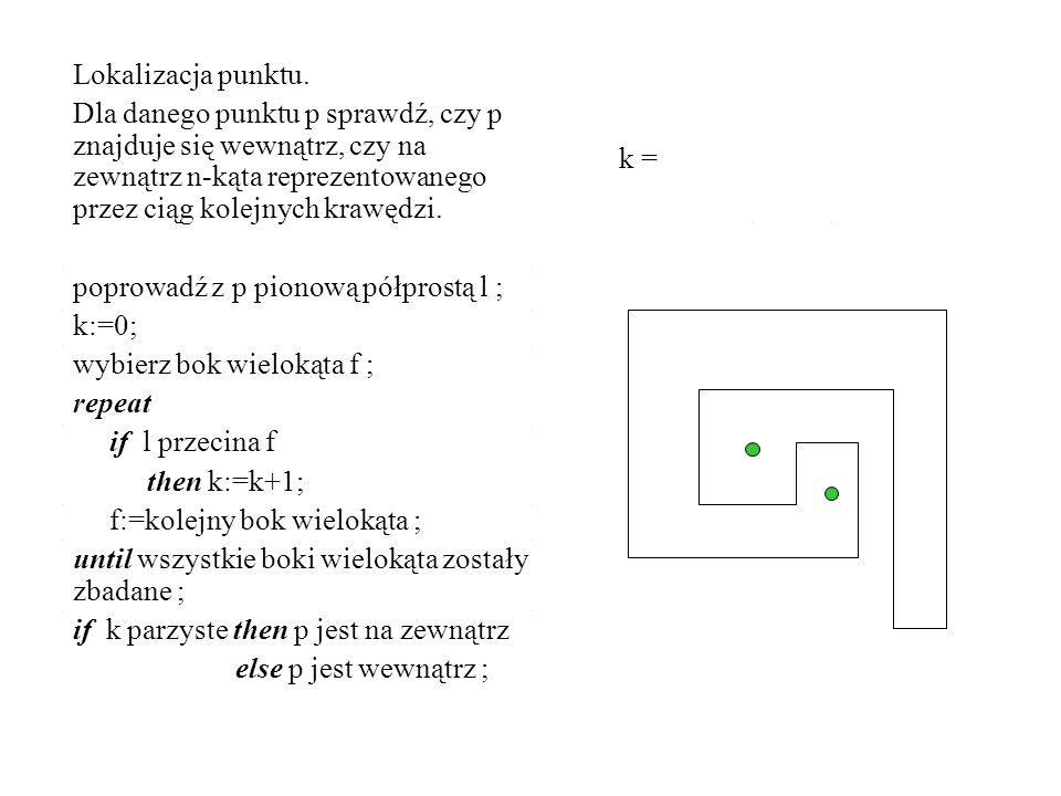 Lokalizacja punktu. Dla danego punktu p sprawdź, czy p znajduje się wewnątrz, czy na zewnątrz n-kąta reprezentowanego przez ciąg kolejnych krawędzi.