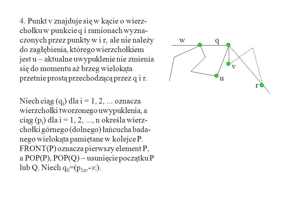 4. Punkt v znajduje się w kącie o wierz-chołku w punkcie q i ramionach wyzna-czonych przez punkty w i r, ale nie należy do zagłębienia, którego wierzchołkiem jest u – aktualne uwypuklenie nie zmienia się do momentu aż brzeg wielokąta przetnie prostą przechodzącą przez q i r.
