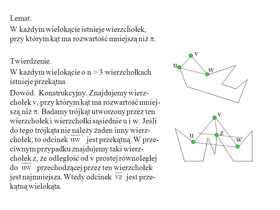 Lemat. W każdym wielokącie istnieje wierzchołek, przy którym kąt ma rozwartość mniejszą niż . Twierdzenie.