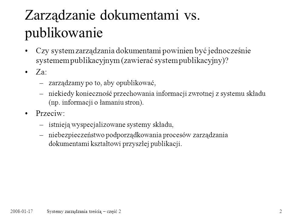 Zarządzanie dokumentami vs. publikowanie