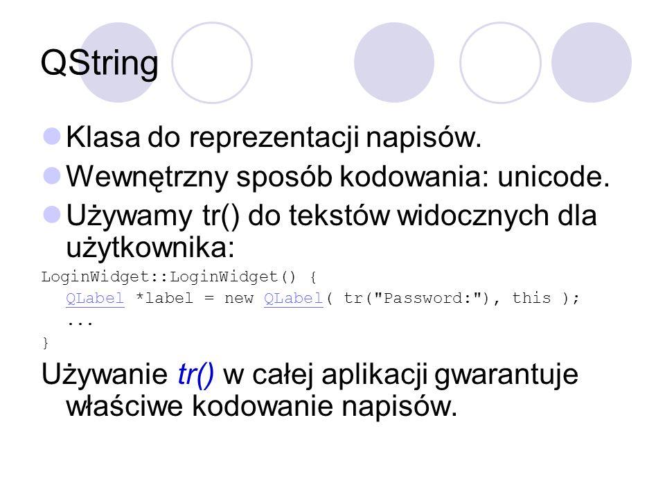 QString Klasa do reprezentacji napisów.