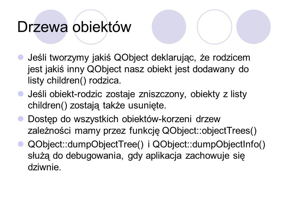 Drzewa obiektów Jeśli tworzymy jakiś QObject deklarując, że rodzicem jest jakiś inny QObject nasz obiekt jest dodawany do listy children() rodzica.