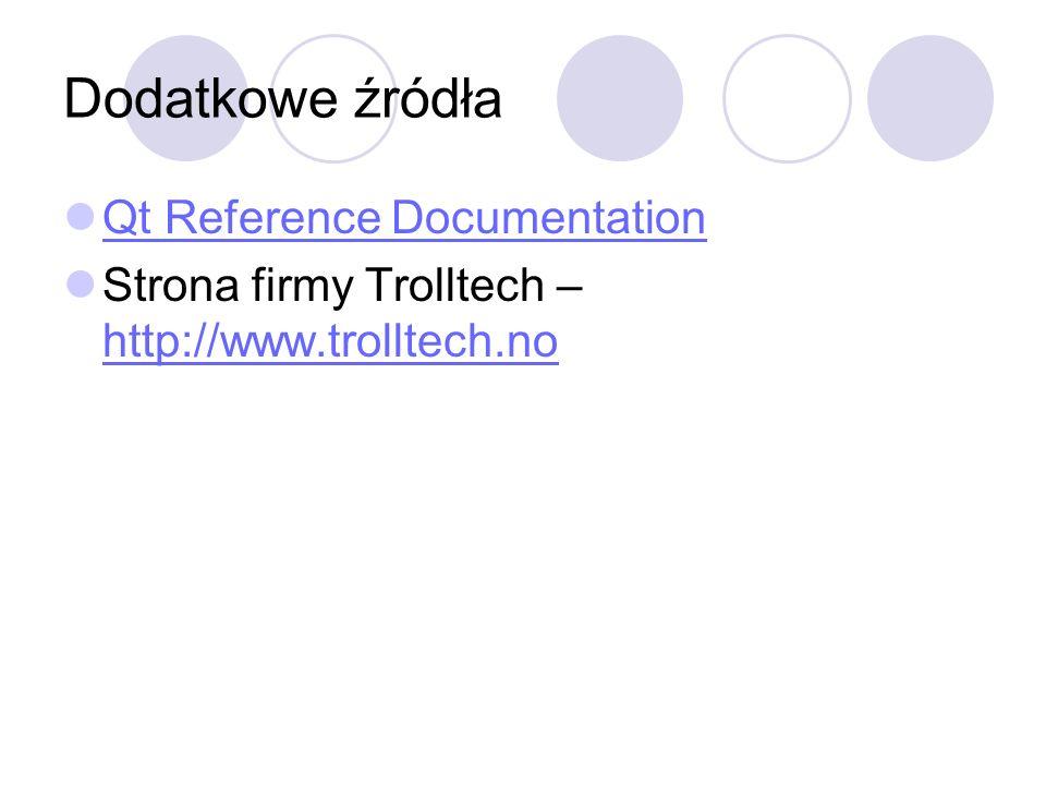 Dodatkowe źródła Qt Reference Documentation