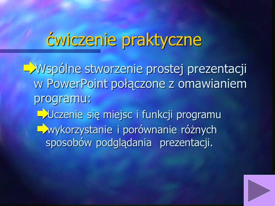 ćwiczenie praktyczne Wspólne stworzenie prostej prezentacji w PowerPoint połączone z omawianiem programu: