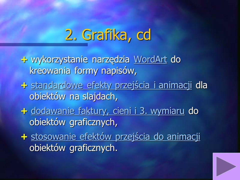2. Grafika, cd + wykorzystanie narzędzia WordArt do kreowania formy napisów, + standardowe efekty przejścia i animacji dla obiektów na slajdach,