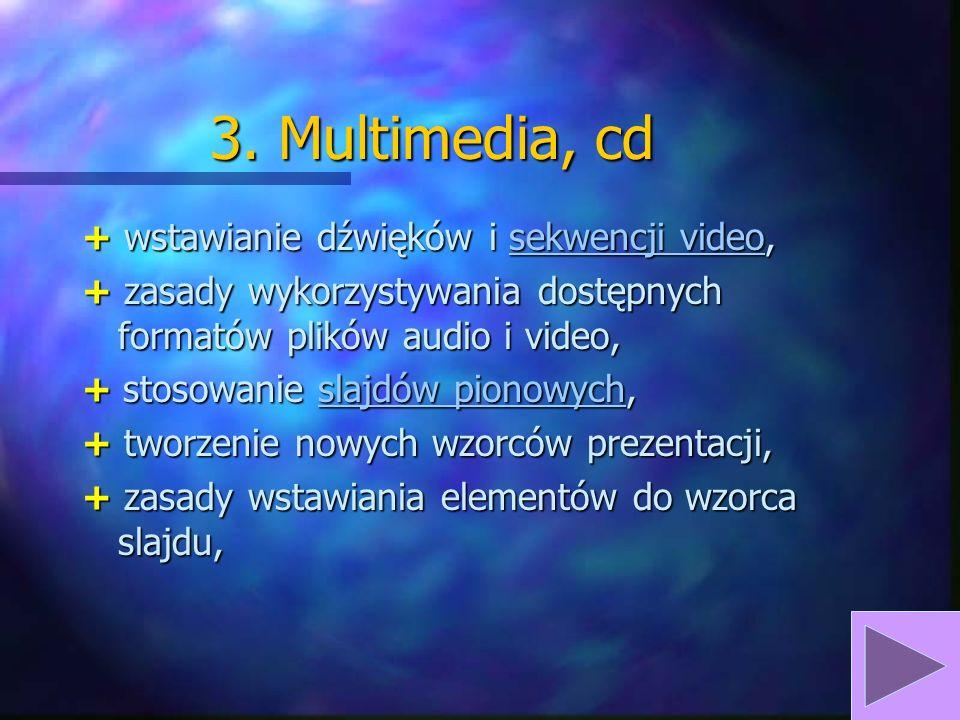 3. Multimedia, cd + wstawianie dźwięków i sekwencji video,