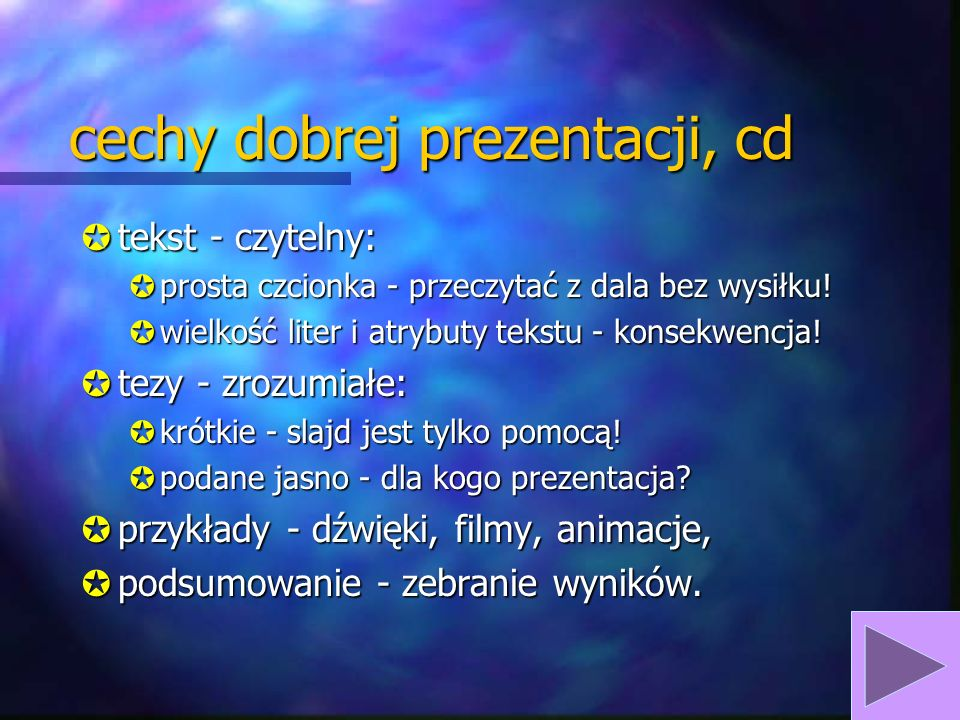 cechy dobrej prezentacji, cd