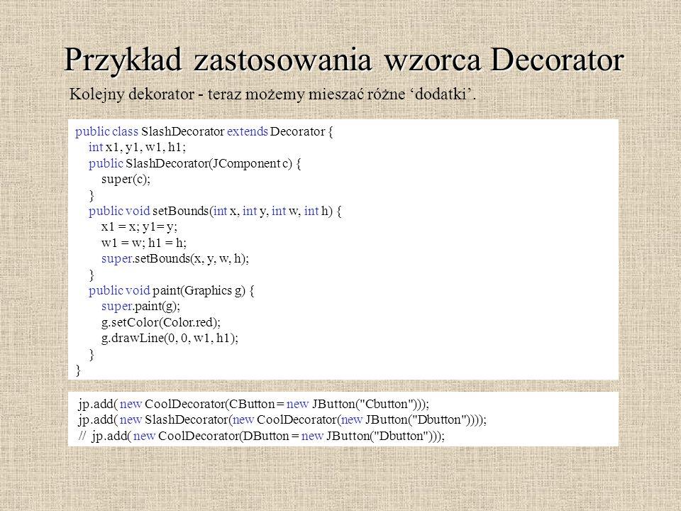 Przykład zastosowania wzorca Decorator