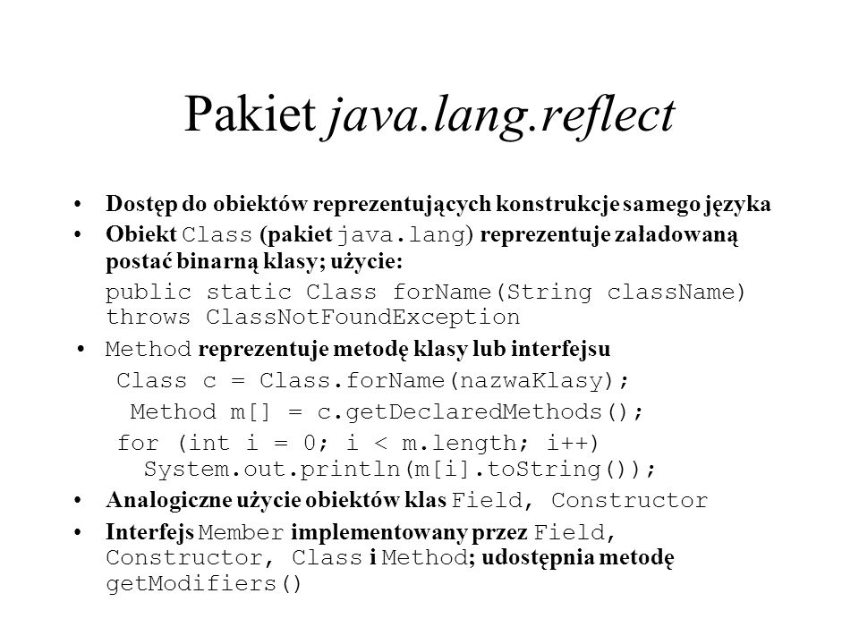 Pakiet java.lang.reflect