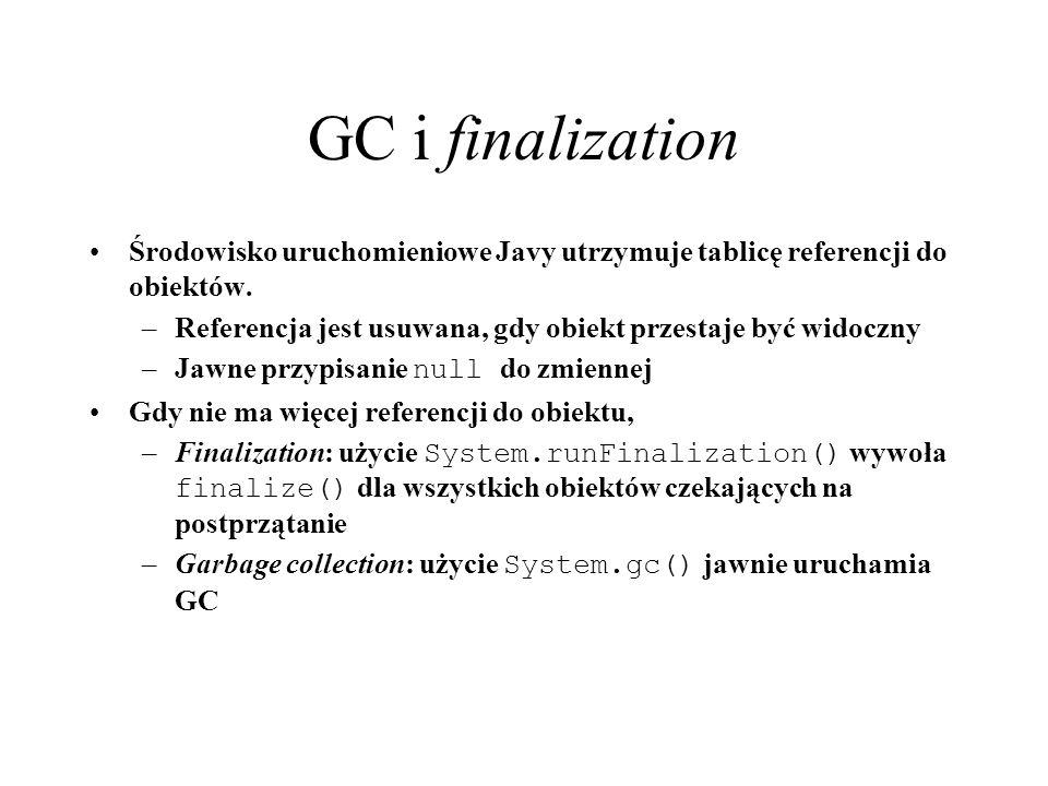 GC i finalization Środowisko uruchomieniowe Javy utrzymuje tablicę referencji do obiektów.
