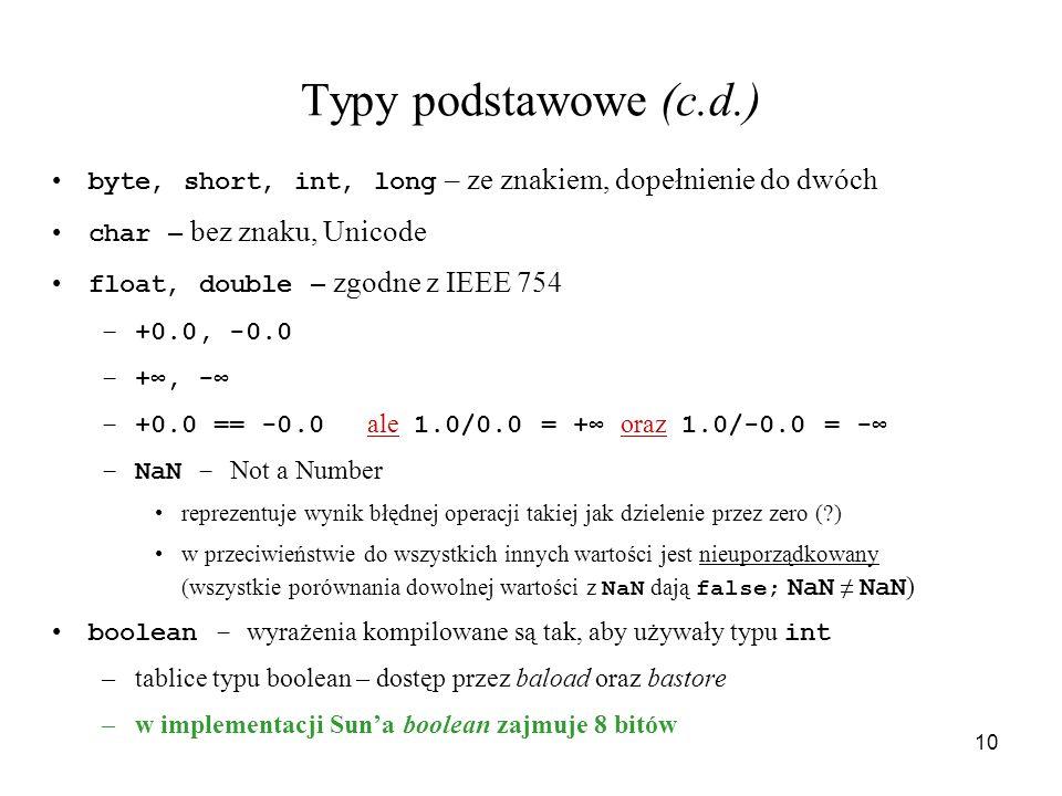 Typy podstawowe (c.d.) byte, short, int, long – ze znakiem, dopełnienie do dwóch. char – bez znaku, Unicode.