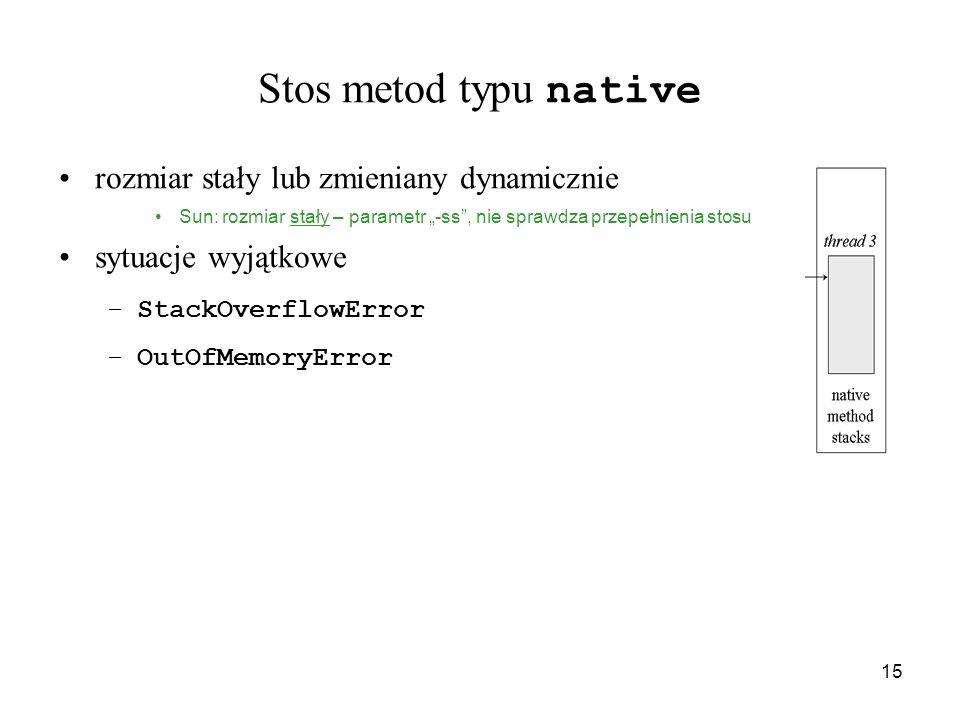 Stos metod typu native rozmiar stały lub zmieniany dynamicznie