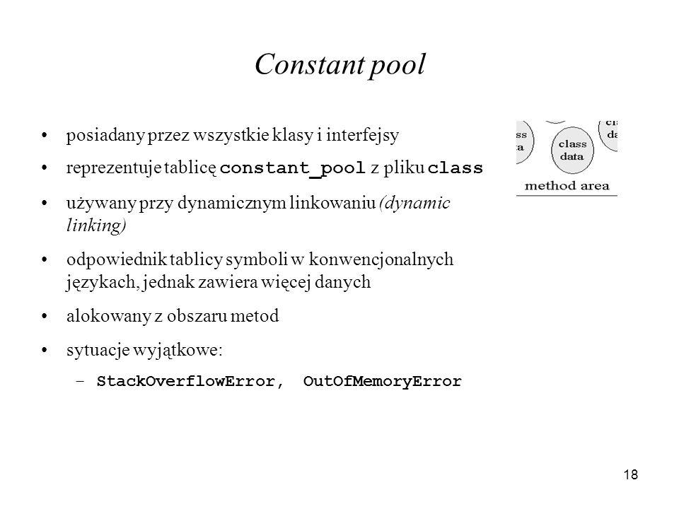 Constant pool posiadany przez wszystkie klasy i interfejsy