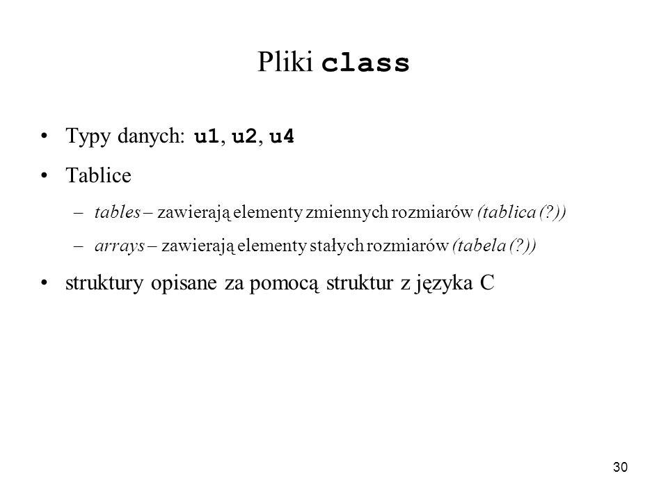 Pliki class Typy danych: u1, u2, u4 Tablice