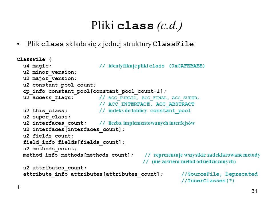 Pliki class (c.d.) Plik class składa się z jednej struktury ClassFile: