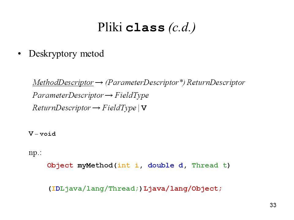 Pliki class (c.d.) Deskryptory metod