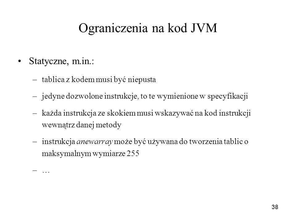 Ograniczenia na kod JVM