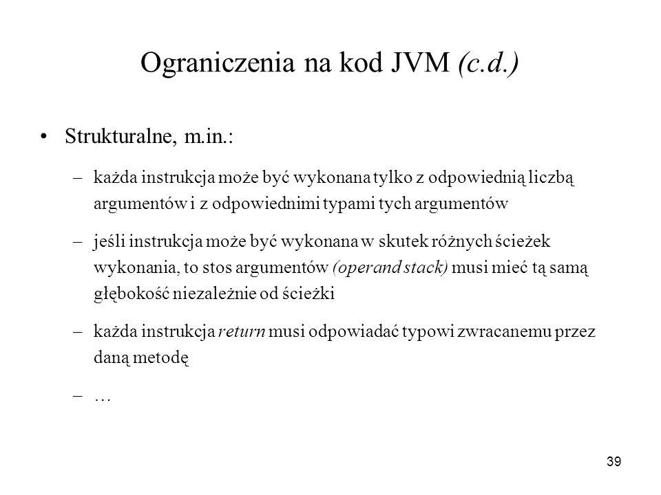 Ograniczenia na kod JVM (c.d.)