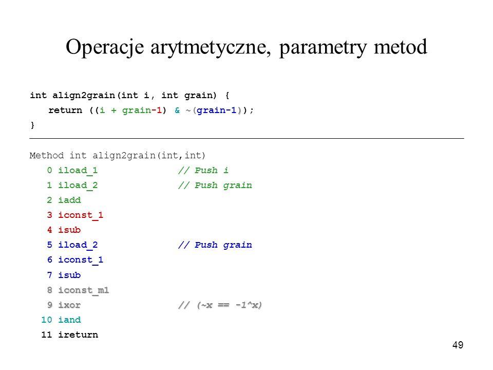 Operacje arytmetyczne, parametry metod