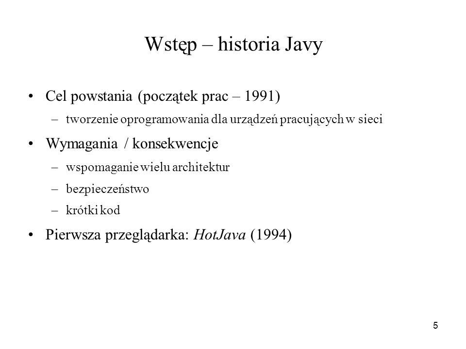 Wstęp – historia Javy Cel powstania (początek prac – 1991)