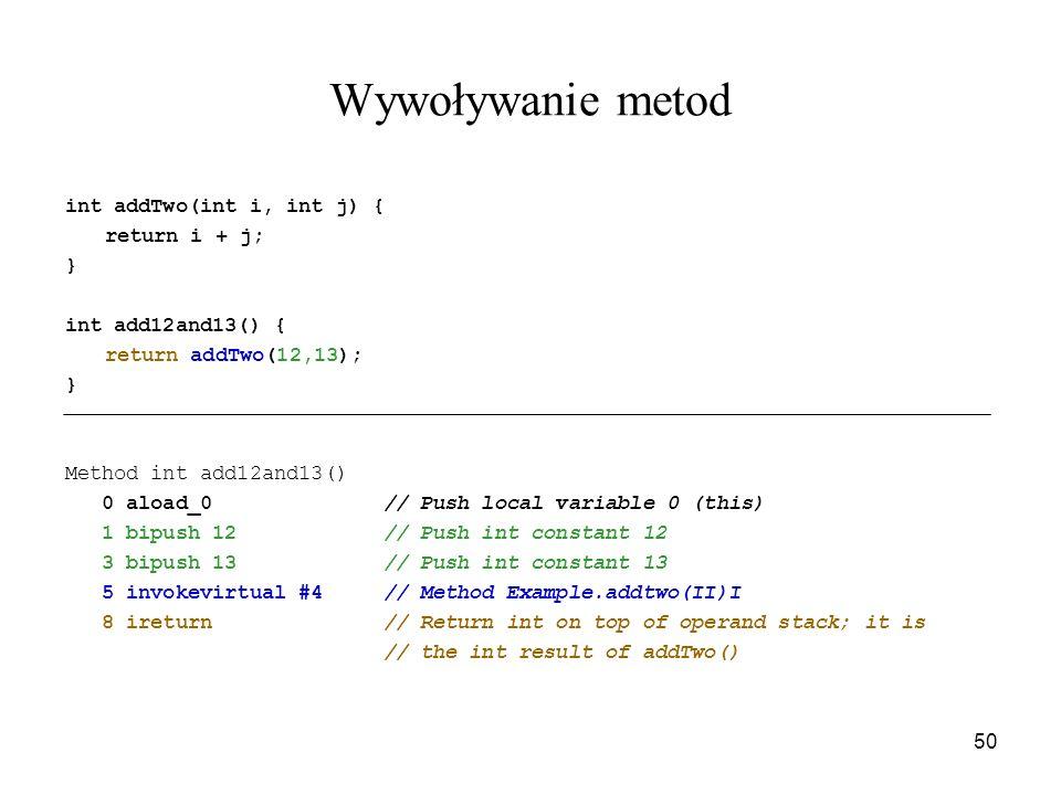 Wywoływanie metod int addTwo(int i, int j) { return i + j; }