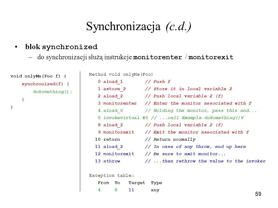 Synchronizacja (c.d.) blok synchronized