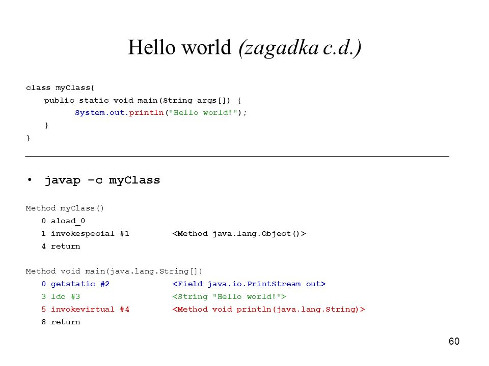 Hello world (zagadka c.d.)