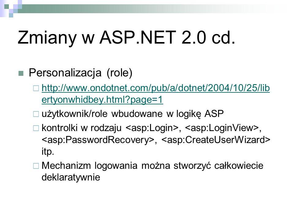 Zmiany w ASP.NET 2.0 cd. Personalizacja (role)