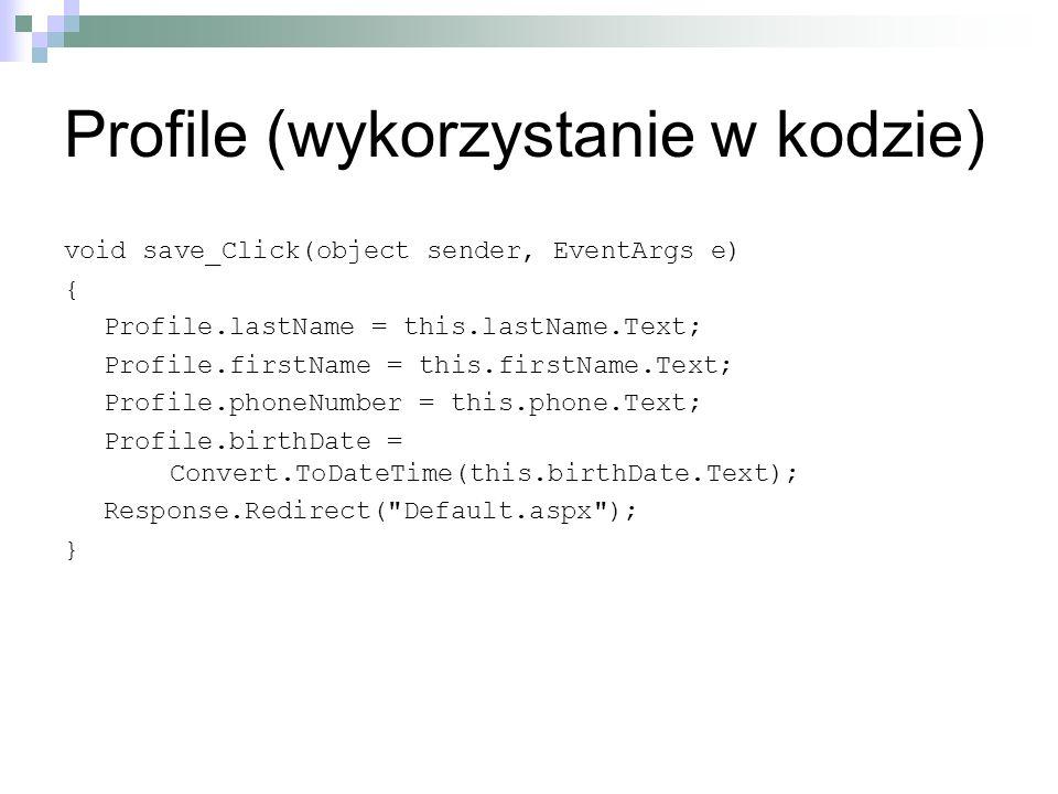 Profile (wykorzystanie w kodzie)