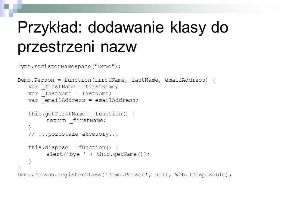 Przykład: dodawanie klasy do przestrzeni nazw