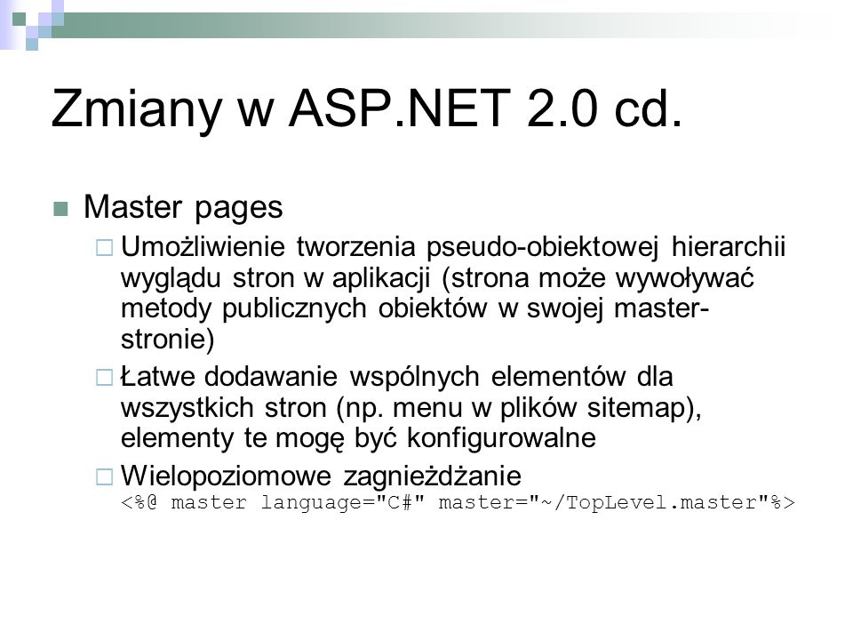 Zmiany w ASP.NET 2.0 cd. Master pages