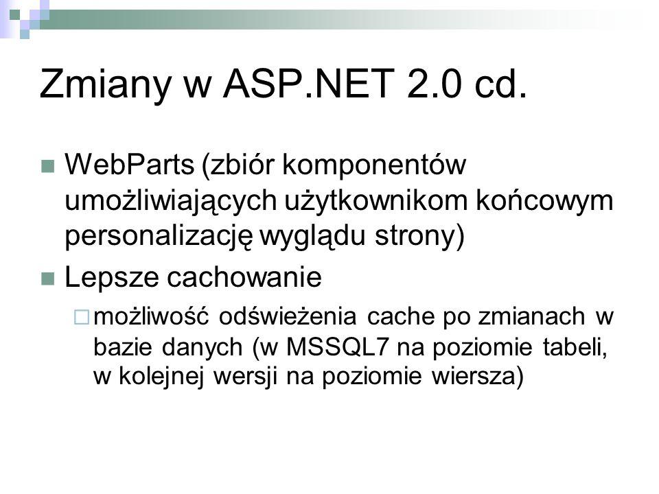Zmiany w ASP.NET 2.0 cd. WebParts (zbiór komponentów umożliwiających użytkownikom końcowym personalizację wyglądu strony)