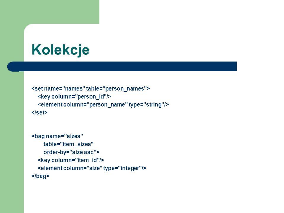 Kolekcje <set name= names table= person_names >