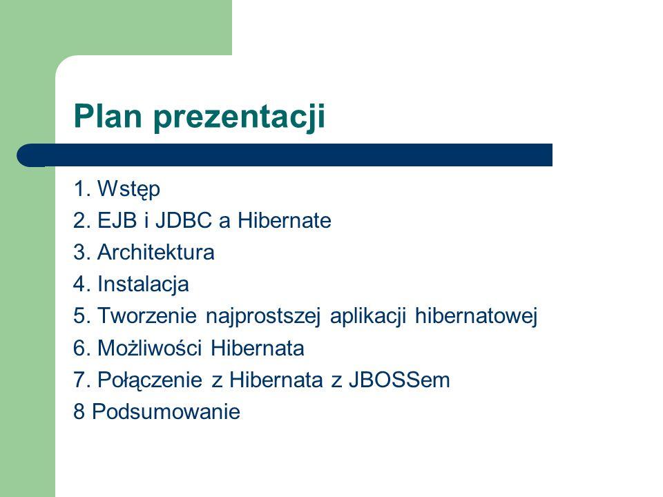 Plan prezentacji 1. Wstęp 2. EJB i JDBC a Hibernate 3. Architektura