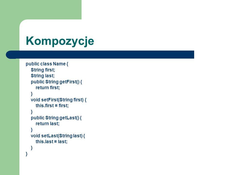 Kompozycje public class Name { String first; String last;