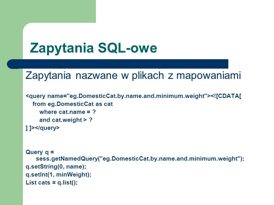 Zapytania SQL-owe Zapytania nazwane w plikach z mapowaniami