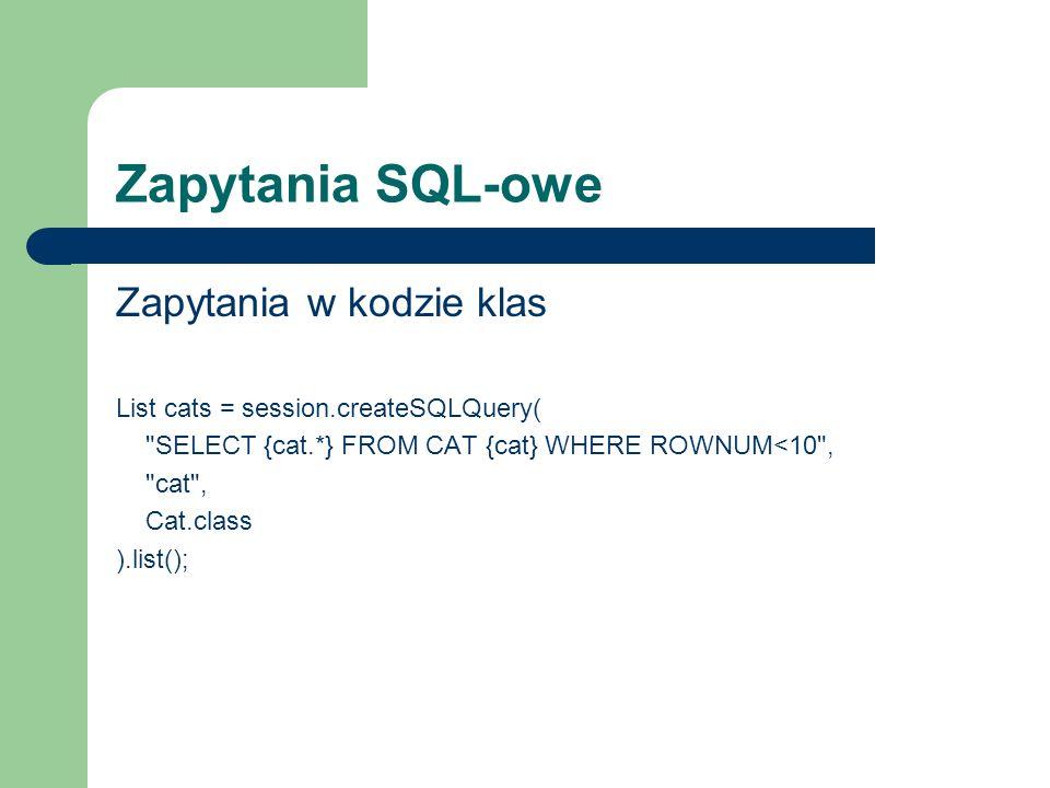 Zapytania SQL-owe Zapytania w kodzie klas