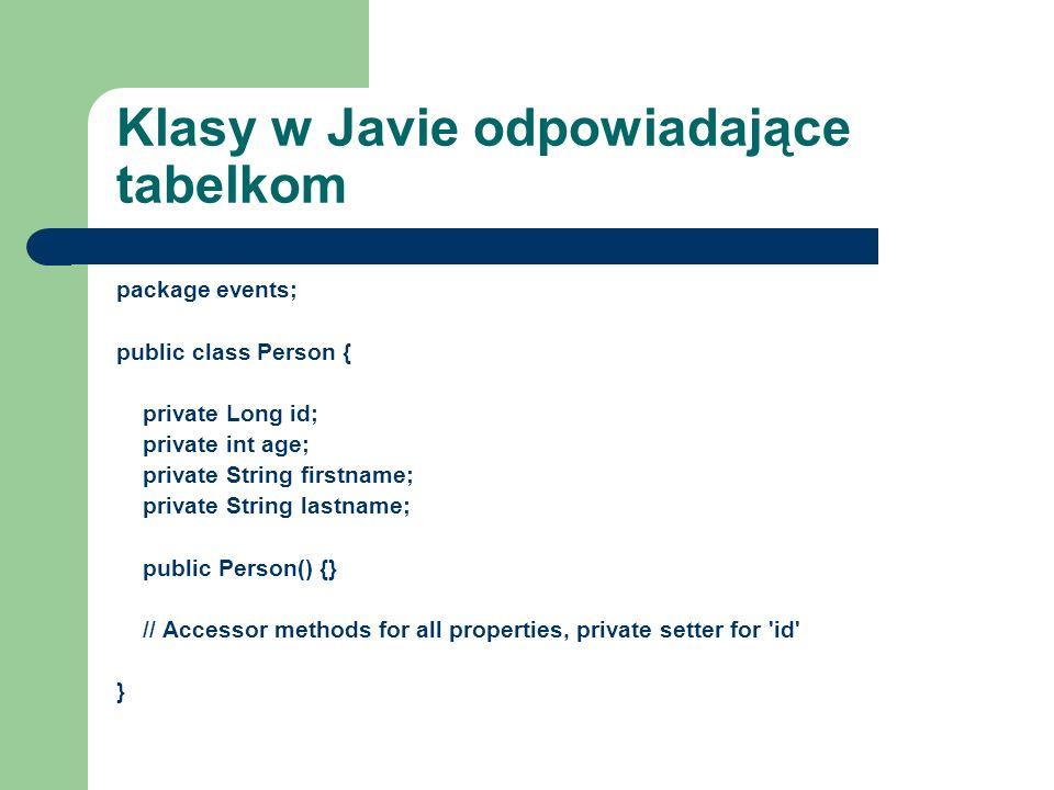 Klasy w Javie odpowiadające tabelkom