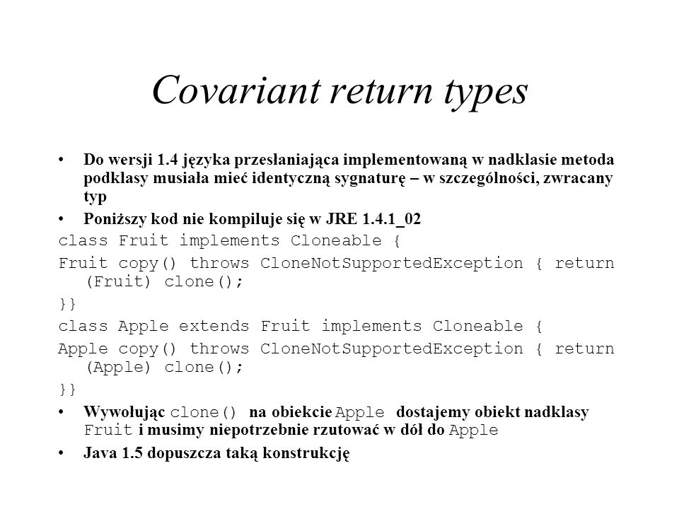 Covariant return types