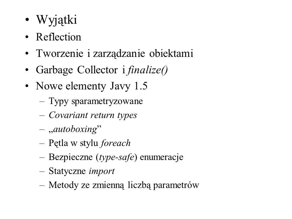 Wyjątki Reflection Tworzenie i zarządzanie obiektami