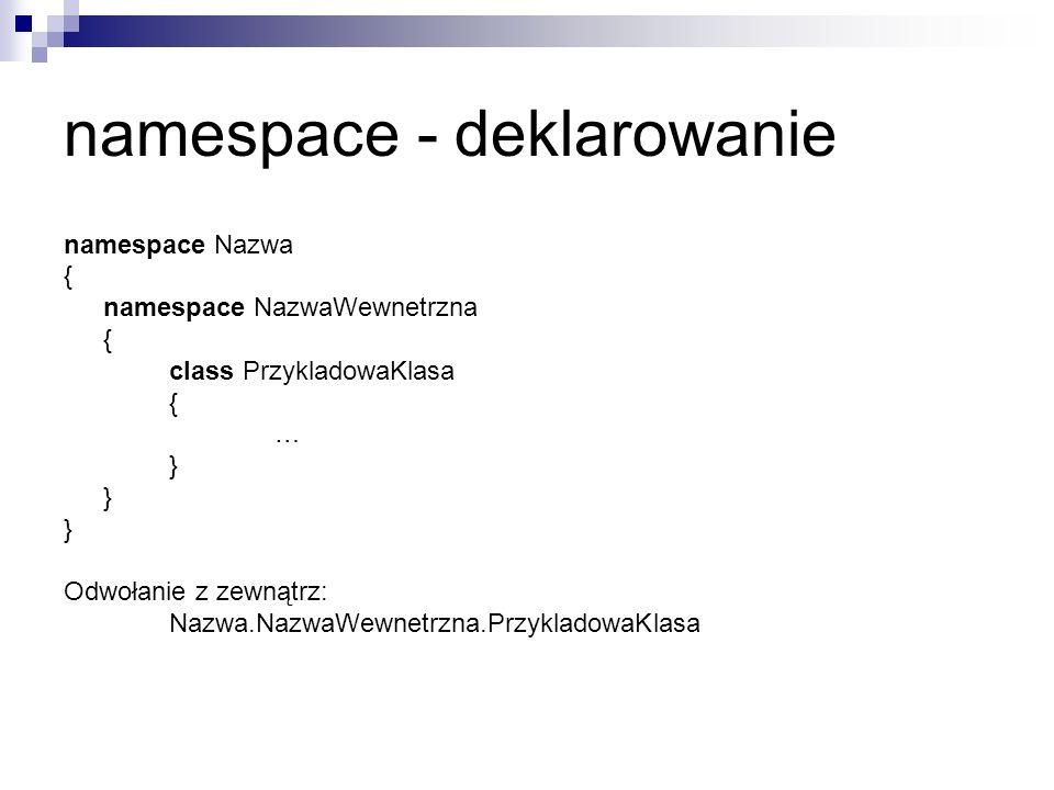 namespace - deklarowanie
