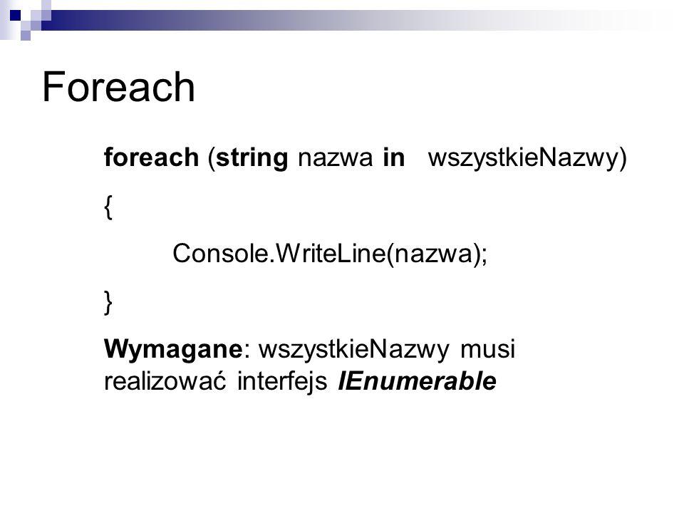 Foreach foreach (string nazwa in wszystkieNazwy) {