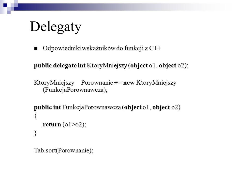 Delegaty Odpowiedniki wskaźników do funkcji z C++