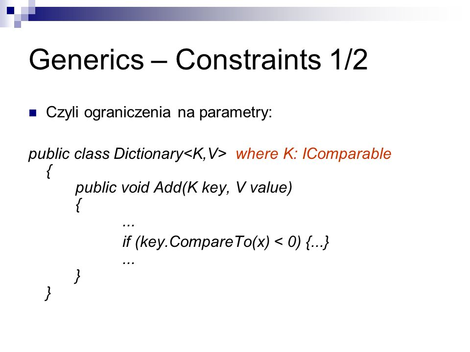 Generics – Constraints 1/2