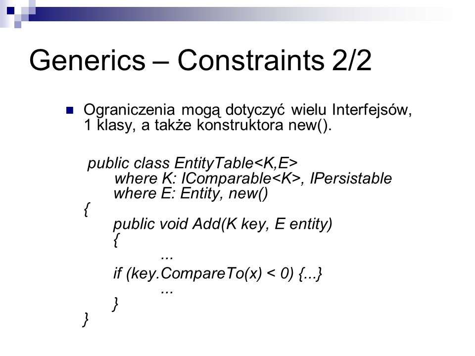 Generics – Constraints 2/2