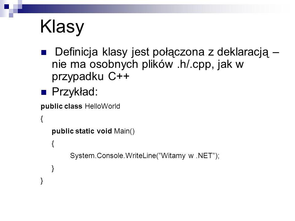 Klasy Definicja klasy jest połączona z deklaracją – nie ma osobnych plików .h/.cpp, jak w przypadku C++